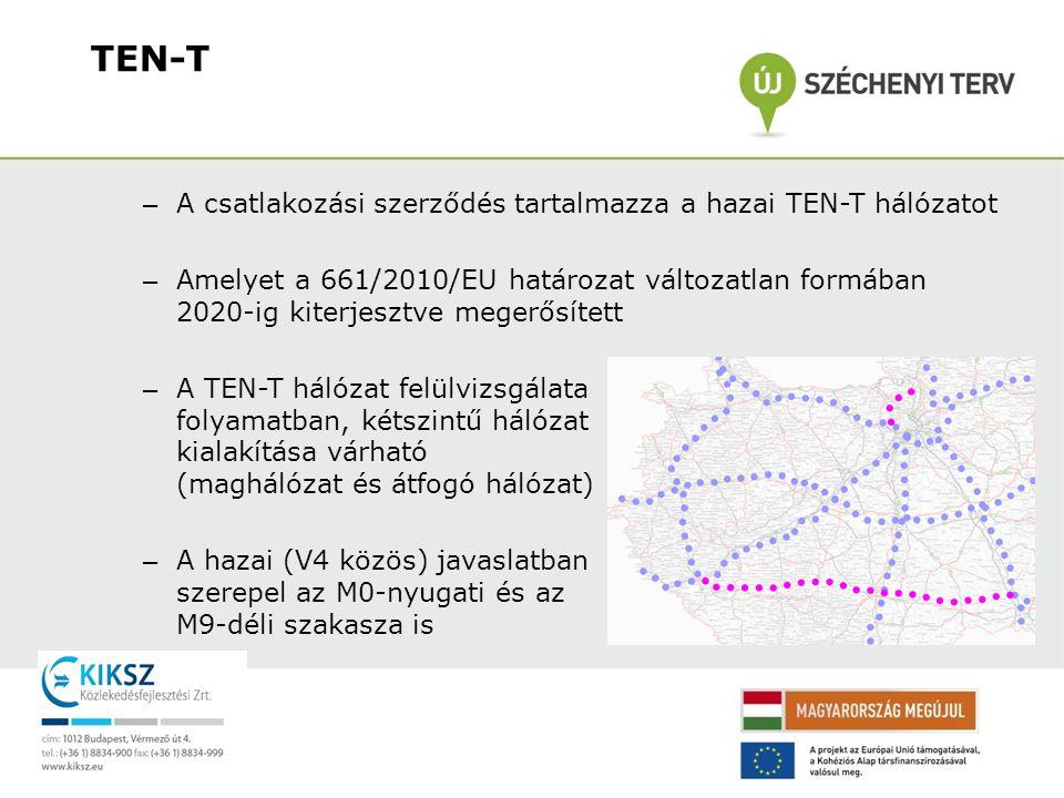 – A csatlakozási szerződés tartalmazza a hazai TEN-T hálózatot – Amelyet a 661/2010/EU határozat változatlan formában 2020-ig kiterjesztve megerősítet