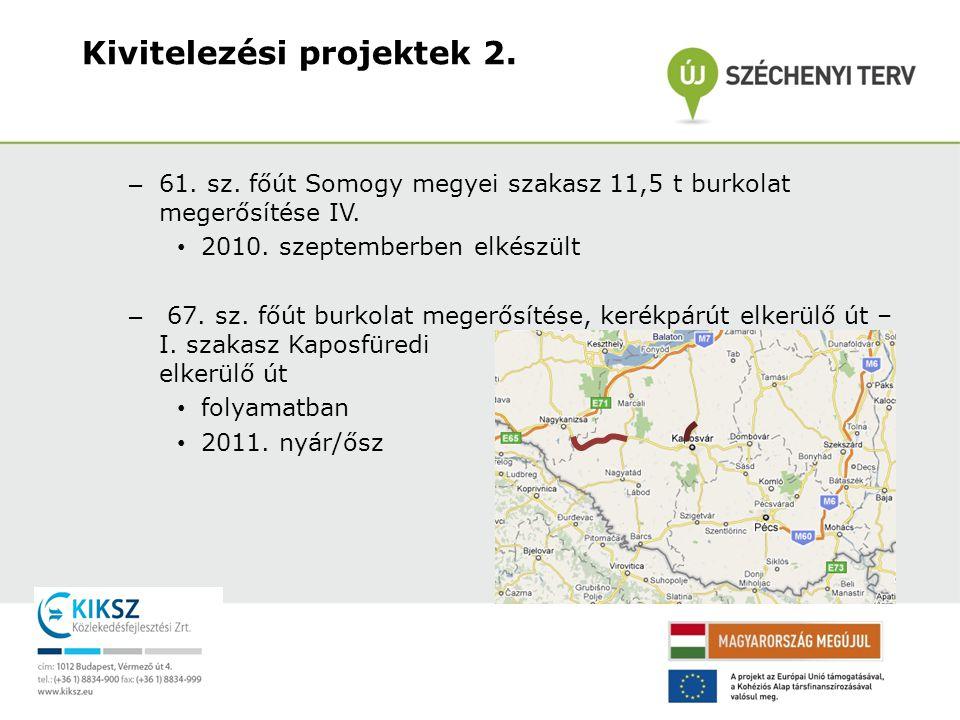 – 61. sz. főút Somogy megyei szakasz 11,5 t burkolat megerősítése IV. • 2010. szeptemberben elkészült – 67. sz. főút burkolat megerősítése, kerékpárút