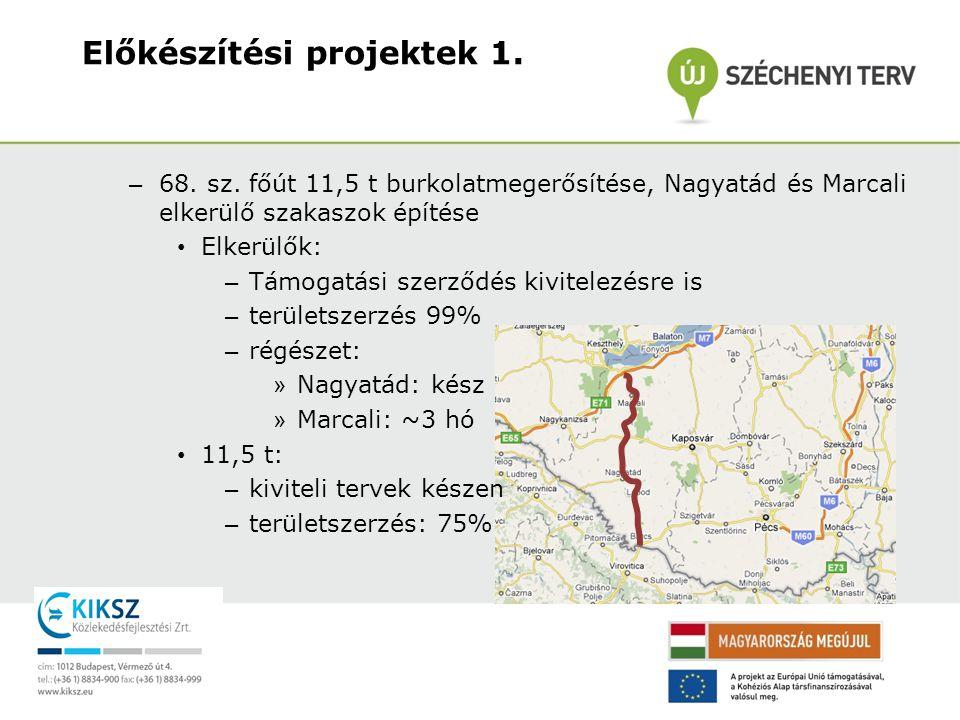– 68. sz. főút 11,5 t burkolatmegerősítése, Nagyatád és Marcali elkerülő szakaszok építése • Elkerülők: – Támogatási szerződés kivitelezésre is – terü