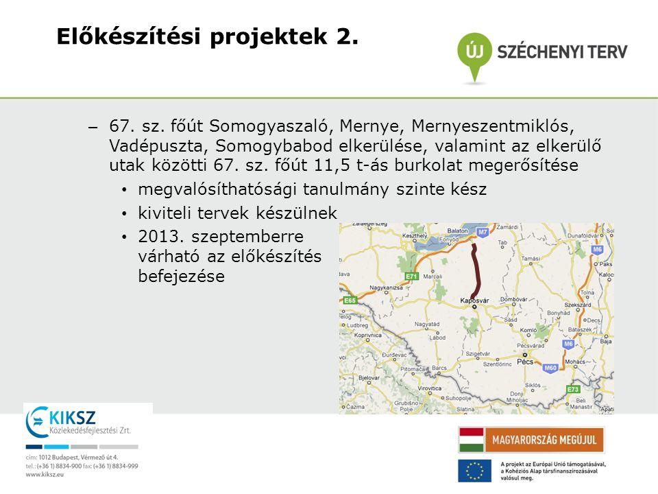 – 67. sz. főút Somogyaszaló, Mernye, Mernyeszentmiklós, Vadépuszta, Somogybabod elkerülése, valamint az elkerülő utak közötti 67. sz. főút 11,5 t-ás b