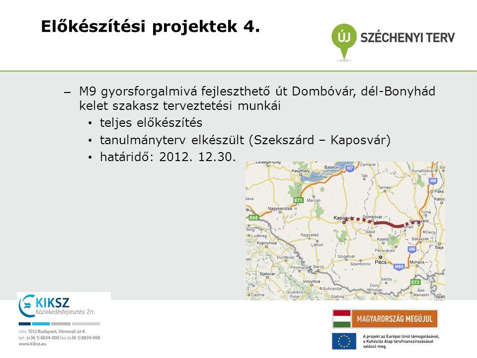 – M9 gyorsforgalmi út Kaposvár – Nagykanizsa közötti szakaszának előkészítése – M9 gyorsforgalmi út Kaposvár - Dombóvár közötti szakaszának előkészítése – M9 gyorsforgalmi út Bonyhád – Szekszárd közötti szakaszának előkészítése – Értékelés alatt – Kiemelt Projekt Zsűri Projektjavaslatok