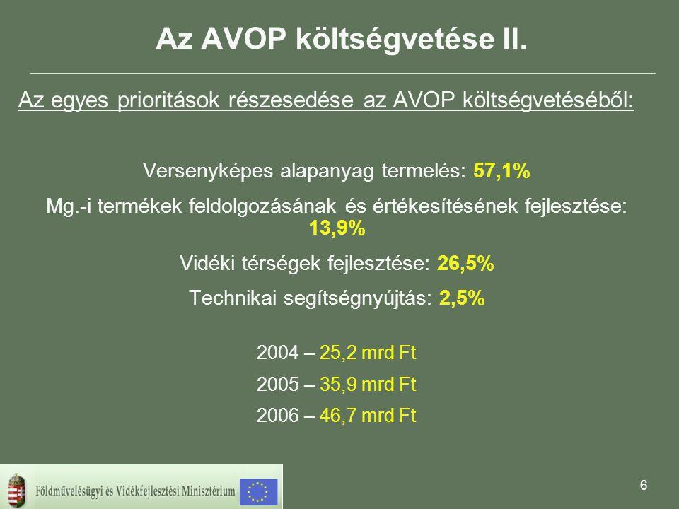 6 Az AVOP költségvetése II.