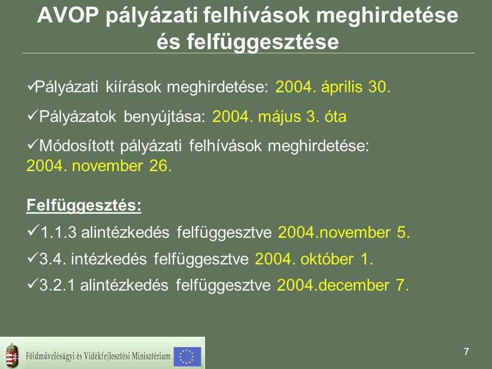 7 AVOP pályázati felhívások meghirdetése és felfüggesztése  Pályázati kiírások meghirdetése: 2004.