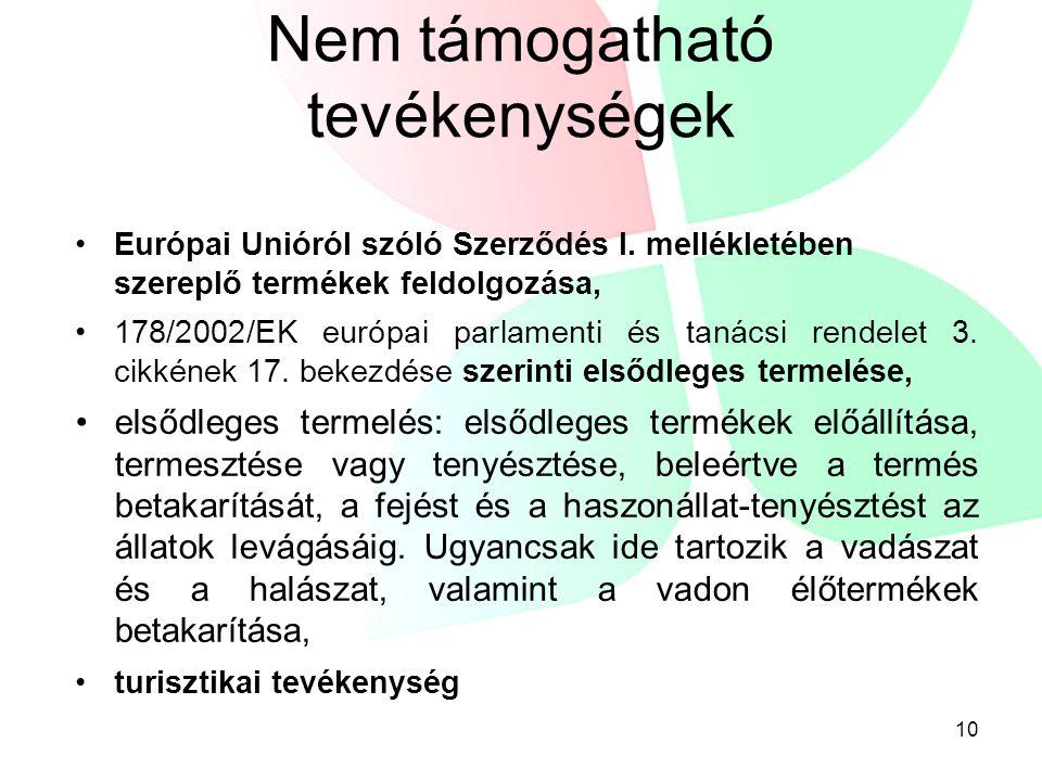 Nem támogatható tevékenységek •Európai Unióról szóló Szerződés I. mellékletében szereplő termékek feldolgozása, •178/2002/EK európai parlamenti és tan