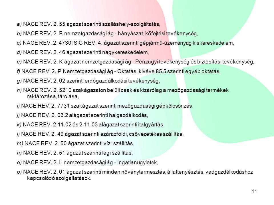 a) NACE REV. 2. 55 ágazat szerinti szálláshely-szolgáltatás, b) NACE REV.