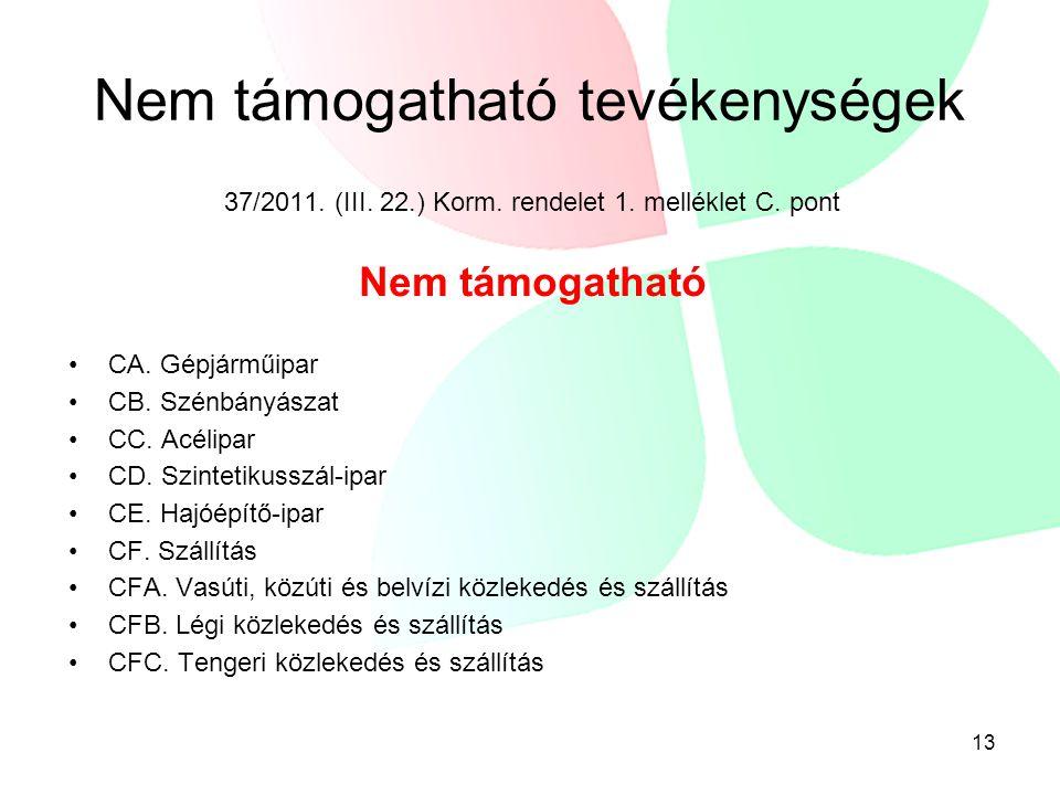 Nem támogatható tevékenységek 37/2011. (III. 22.) Korm. rendelet 1. melléklet C. pont Nem támogatható •CA. Gépjárműipar •CB. Szénbányászat •CC. Acélip