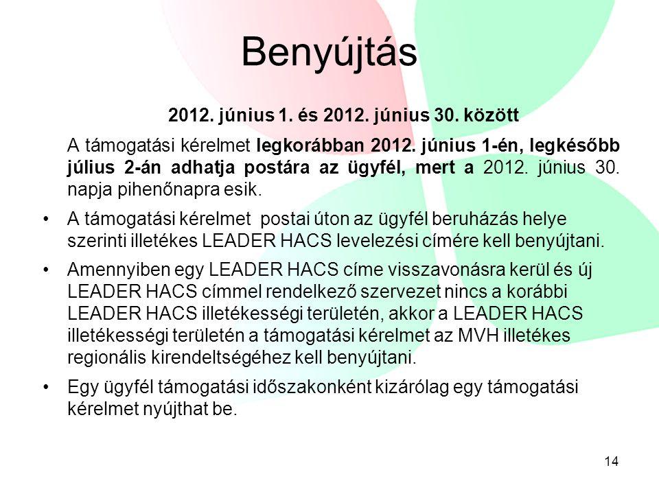 Benyújtás 2012. június 1. és 2012. június 30. között A támogatási kérelmet legkorábban 2012.