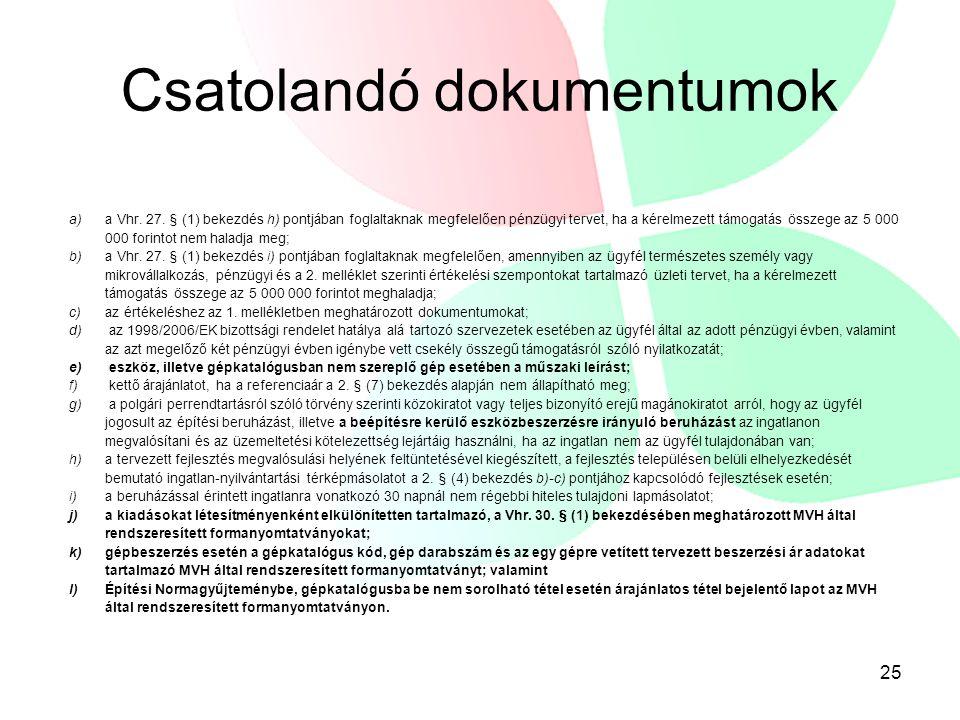 Csatolandó dokumentumok a) a Vhr. 27.
