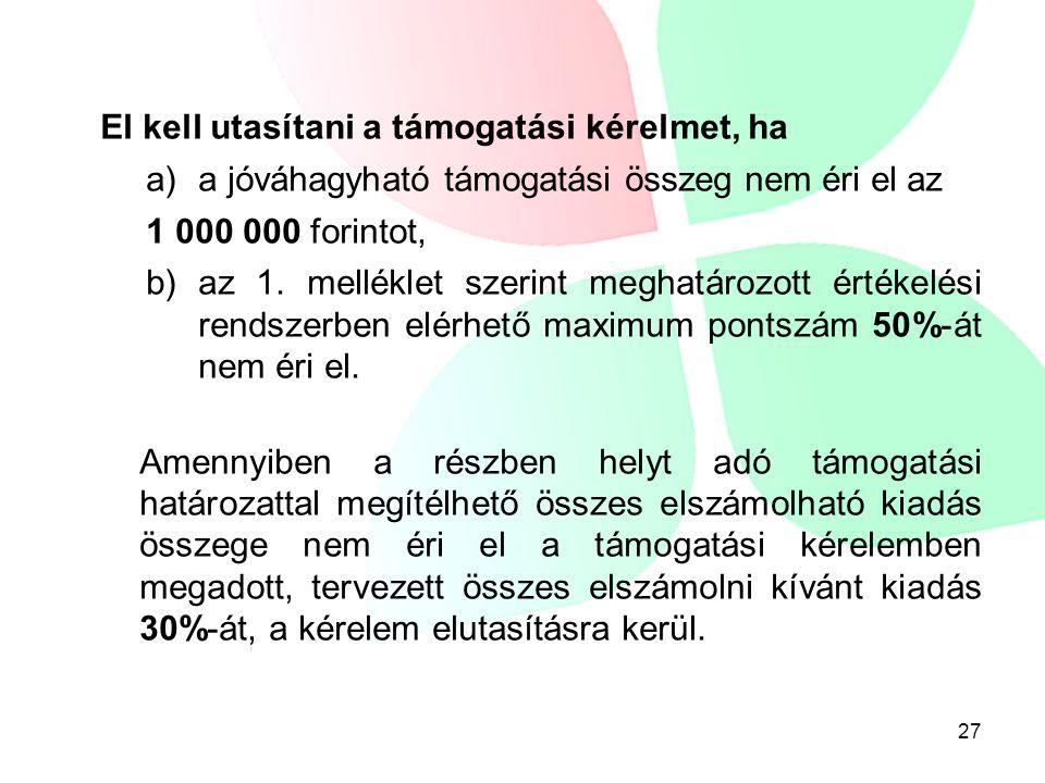 El kell utasítani a támogatási kérelmet, ha a)a jóváhagyható támogatási összeg nem éri el az 1 000 000 forintot, b) az 1. melléklet szerint meghatároz