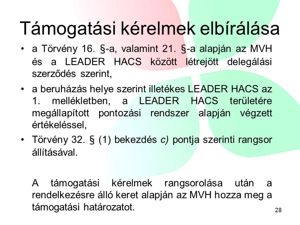 Támogatási kérelmek elbírálása •a Törvény 16. §-a, valamint 21. §-a alapján az MVH és a LEADER HACS között létrejött delegálási szerződés szerint, •a