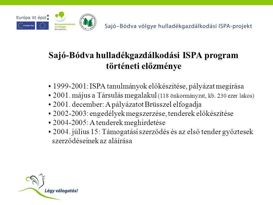 Sajó-Bódva hulladékgazdálkodási ISPA program történeti előzménye • 1999-2001: ISPA tanulmányok előkészítése, pályázat megírása • 2001. május a Társulá