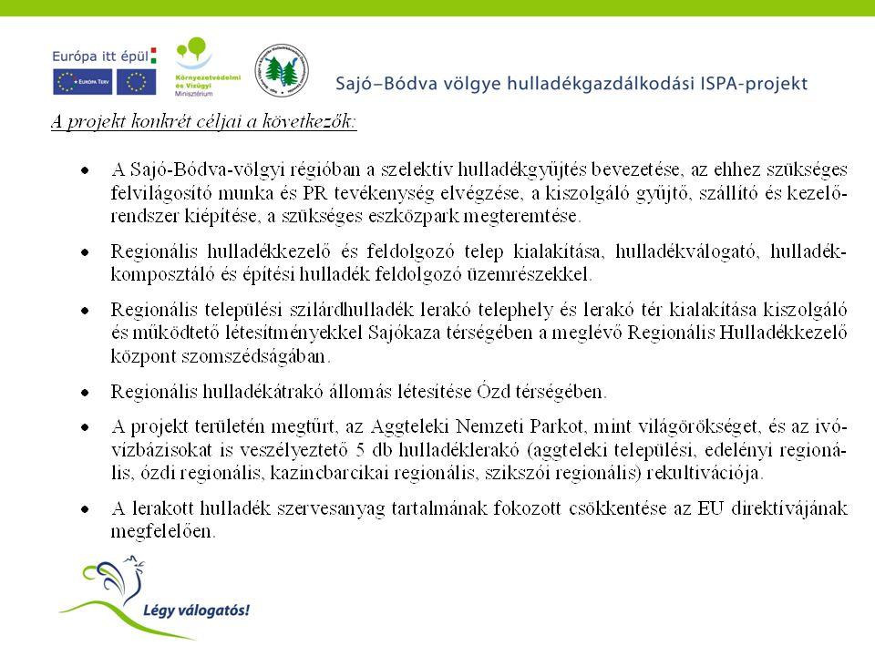 Költségvetés A projekt teljes költsége: 12,978 millió euró (3,2 Mrd Ft) ISPA támogatás: 6,365 millió euró (50 %) (1,591 Mrd Ft) Önkormányzati hozzájárulás:1.297 millió euró (10 %) (320 millió Ft)