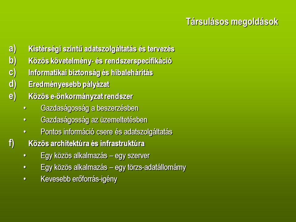 Társulásos megoldások a) Kistérségi szintű adatszolgáltatás és tervezés b) Közös követelmény- és rendszerspecifikáció c) Informatikai biztonság és hibalehárítás d) Eredményesebb pályázat e) Közös e-önkormányzat rendszer •Gazdaságosság a beszerzésben •Gazdaságosság az üzemeltetésben •Pontos információ csere és adatszolgáltatás f) Közös architektúra és infrastruktúra •Egy közös alkalmazás – egy szerver •Egy közös alkalmazás – egy törzs-adatállomámy •Kevesebb erőforrás-igény