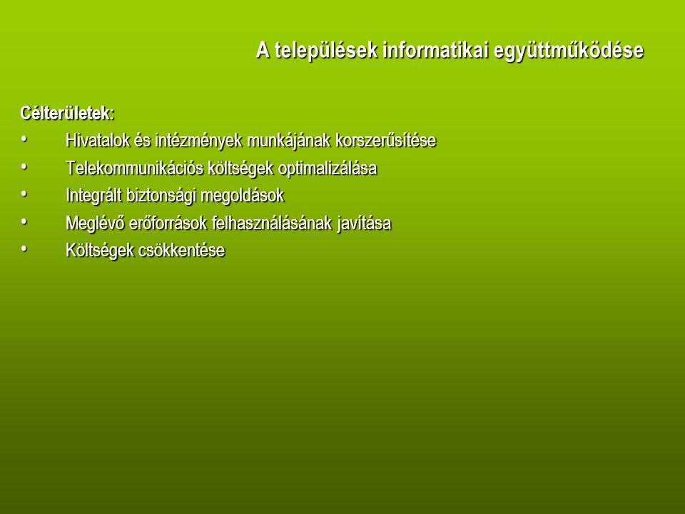 A települések informatikai együttműködése A megvalósítás modelljei: • Gesztor önkormányzati együttműködési modell egy település vállalja fel az IKT fejlesztést és üzemeltetést • Kistérségi (funkcionális) társulásos modell a többcélú kistérségi társulás vállalja fel az IKT fejlesztés és üzemeltetést A megvalósítás konstrukciói: • hosting • ASP • outsourcing