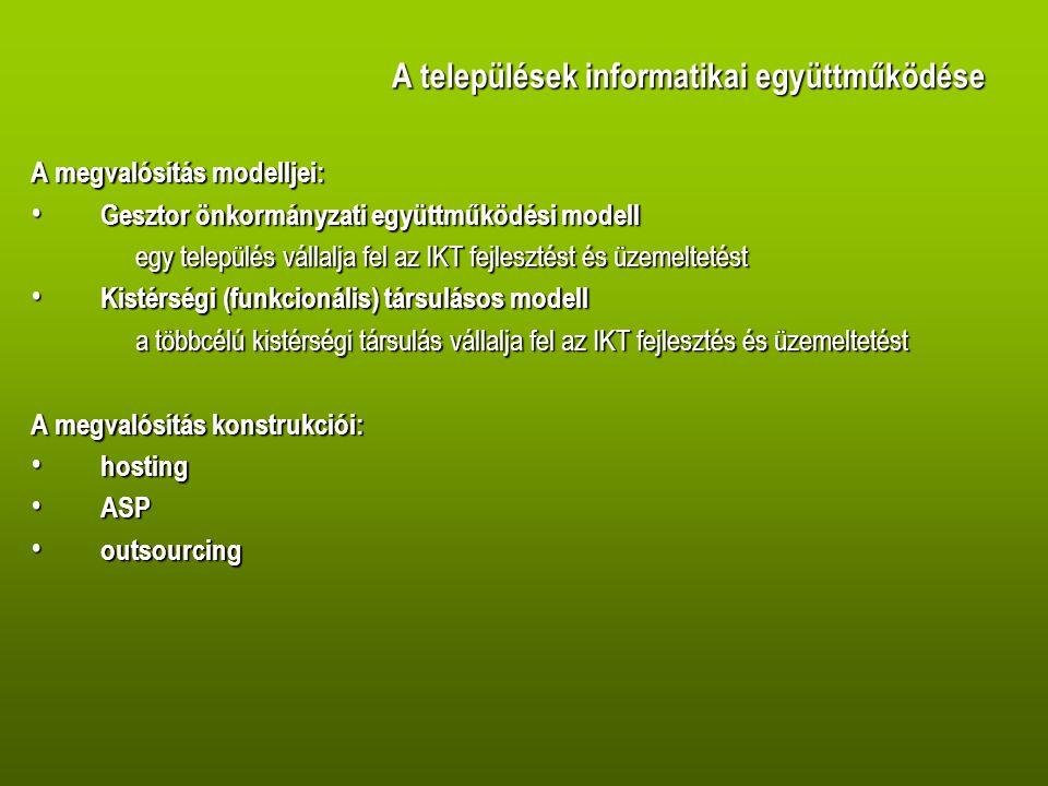 Rendszerkövetelmények • Pályáztatás, közbeszerzés, • Műszaki terv, megvalósíthatósági tanulmány • Üzemeltetés-felügyelet • Tesztelés