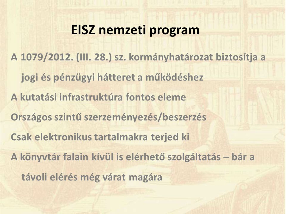EISZ nemzeti program A 1079/2012. (III. 28.) sz.