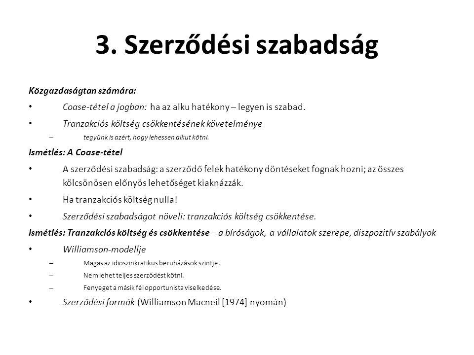 3. Szerződési szabadság Közgazdaságtan számára: • Coase-tétel a jogban: ha az alku hatékony – legyen is szabad. • Tranzakciós költség csökkentésének k