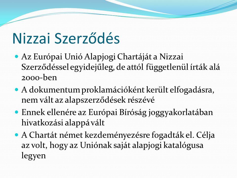 Nizzai Szerződés  Az Európai Unió Alapjogi Chartáját a Nizzai Szerződéssel egyidejűleg, de attól függetlenül írták alá 2000-ben  A dokumentum prokla