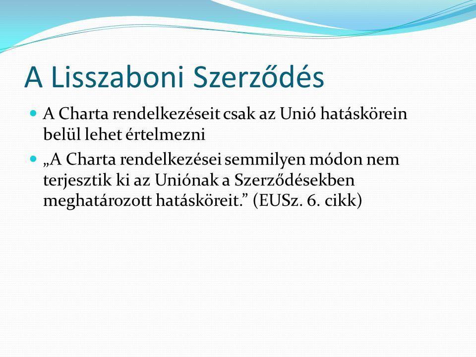 """A Lisszaboni Szerződés  A Charta rendelkezéseit csak az Unió hatáskörein belül lehet értelmezni  """"A Charta rendelkezései semmilyen módon nem terjesztik ki az Uniónak a Szerződésekben meghatározott hatásköreit. (EUSz."""