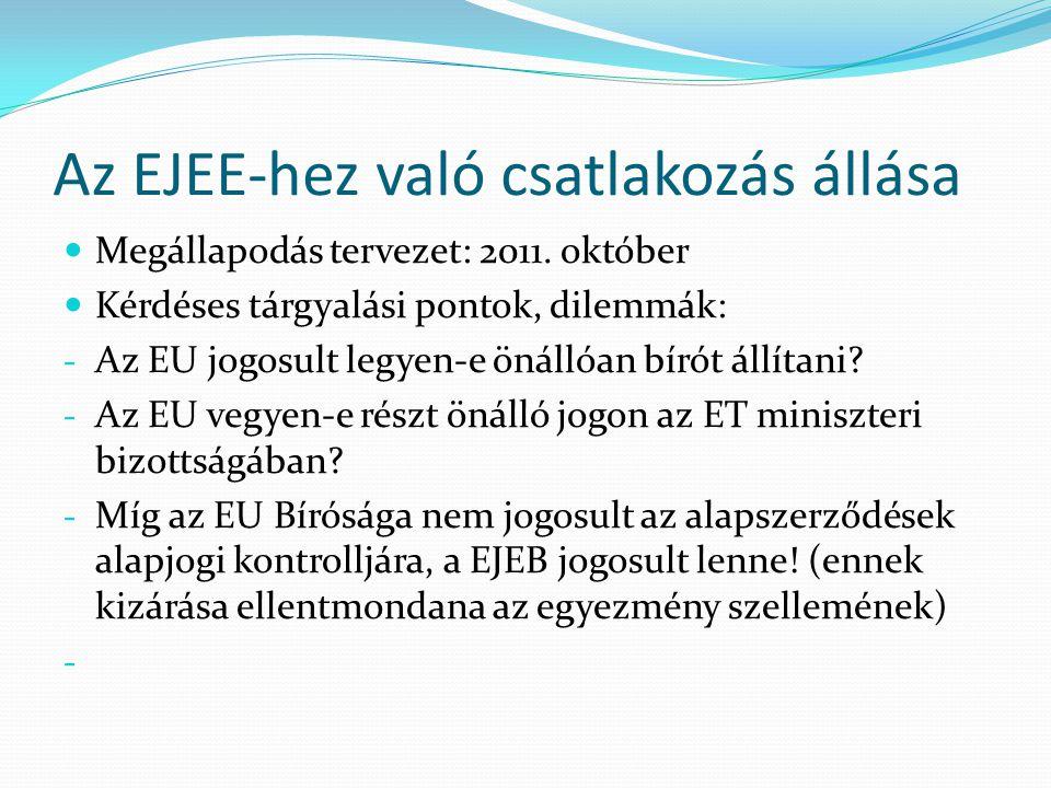Az EJEE-hez való csatlakozás állása  Megállapodás tervezet: 2011. október  Kérdéses tárgyalási pontok, dilemmák: - Az EU jogosult legyen-e önállóan