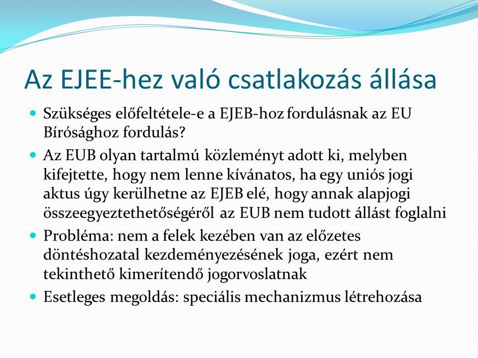 Az EJEE-hez való csatlakozás állása  Szükséges előfeltétele-e a EJEB-hoz fordulásnak az EU Bírósághoz fordulás?  Az EUB olyan tartalmú közleményt ad