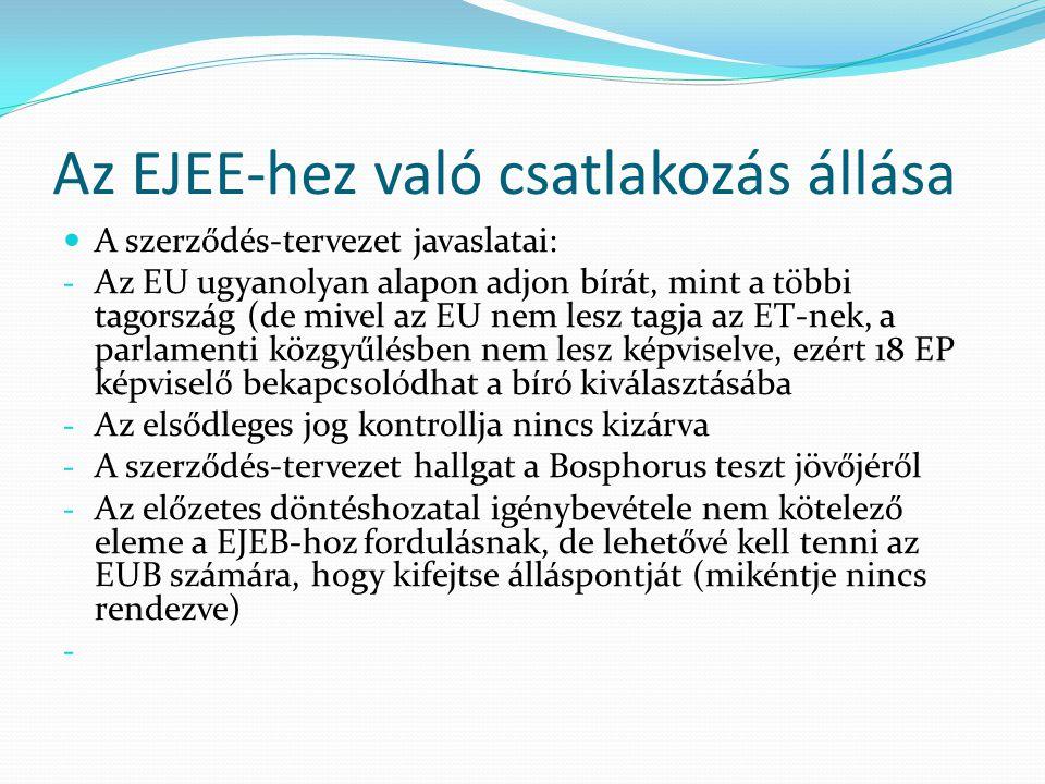 Az EJEE-hez való csatlakozás állása  A szerződés-tervezet javaslatai: - Az EU ugyanolyan alapon adjon bírát, mint a többi tagország (de mivel az EU n