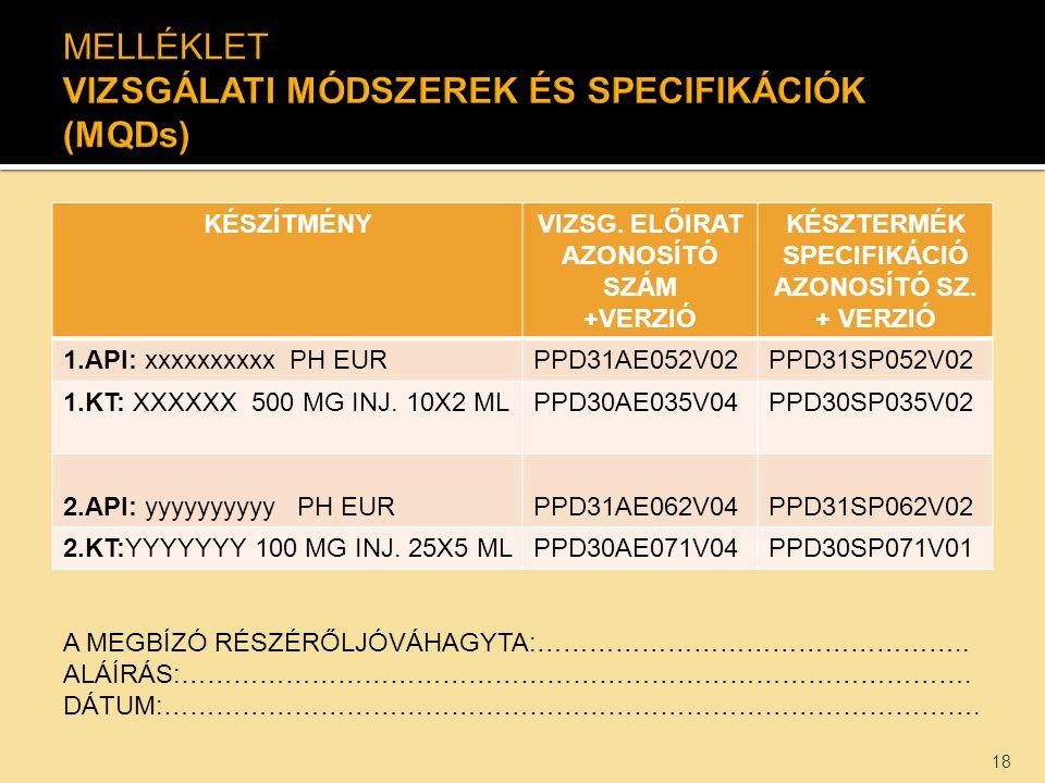 KÉSZÍTMÉNYVIZSG. ELŐIRAT AZONOSÍTÓ SZÁM +VERZIÓ KÉSZTERMÉK SPECIFIKÁCIÓ AZONOSÍTÓ SZ. + VERZIÓ 1.API: xxxxxxxxxx PH EURPPD31AE052V02PPD31SP052V02 1.KT