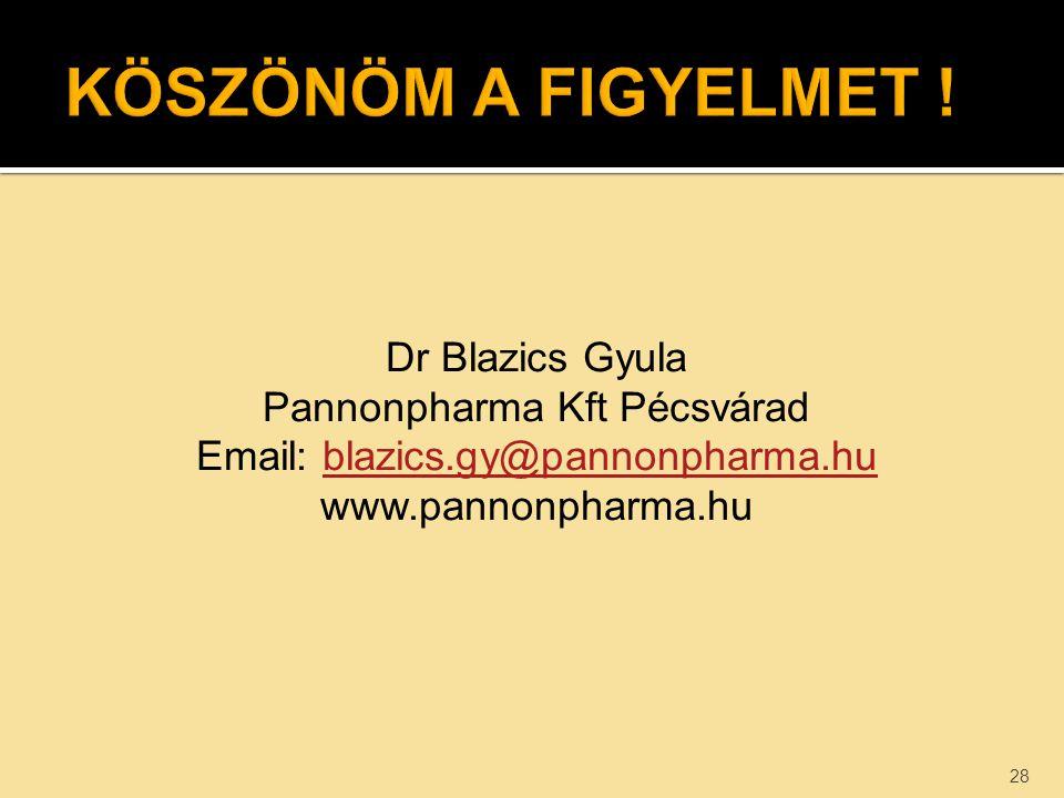 Dr Blazics Gyula Pannonpharma Kft Pécsvárad Email: blazics.gy@pannonpharma.hublazics.gy@pannonpharma.hu www.pannonpharma.hu 28