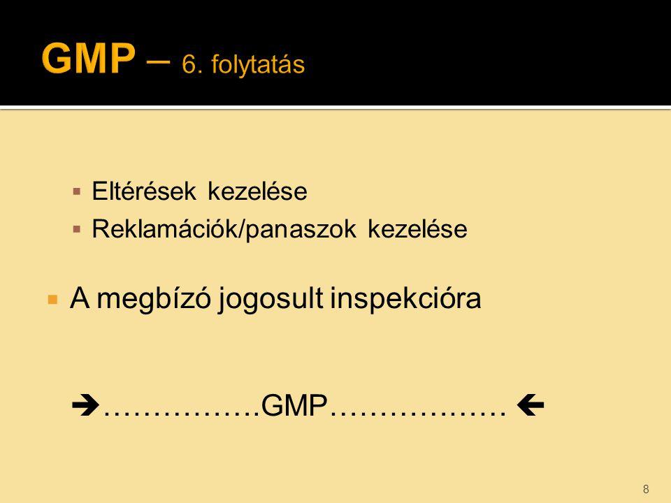  Eltérések kezelése  Reklamációk/panaszok kezelése  A megbízó jogosult inspekcióra  …………….GMP………………  8
