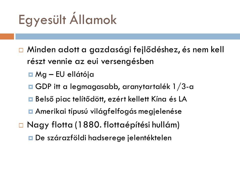 Egyesült Államok  Minden adott a gazdasági fejlődéshez, és nem kell részt vennie az eui versengésben  Mg – EU ellátója  GDP itt a legmagasabb, aran