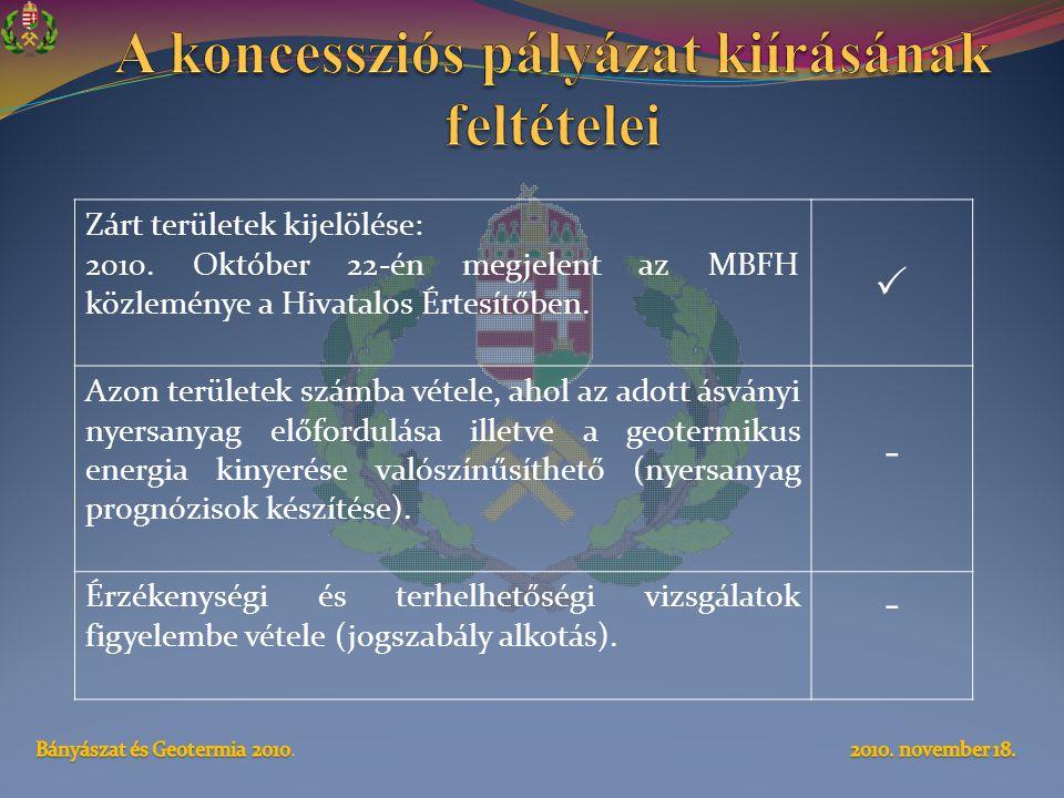 Zárt területek kijelölése: 2010. Október 22-én megjelent az MBFH közleménye a Hivatalos Értesítőben.  Azon területek számba vétele, ahol az adott ásv