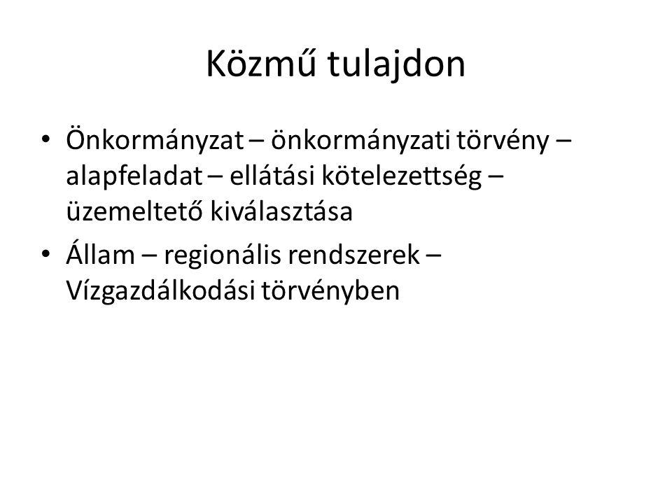 Közmű tulajdon • Önkormányzat – önkormányzati törvény – alapfeladat – ellátási kötelezettség – üzemeltető kiválasztása • Állam – regionális rendszerek