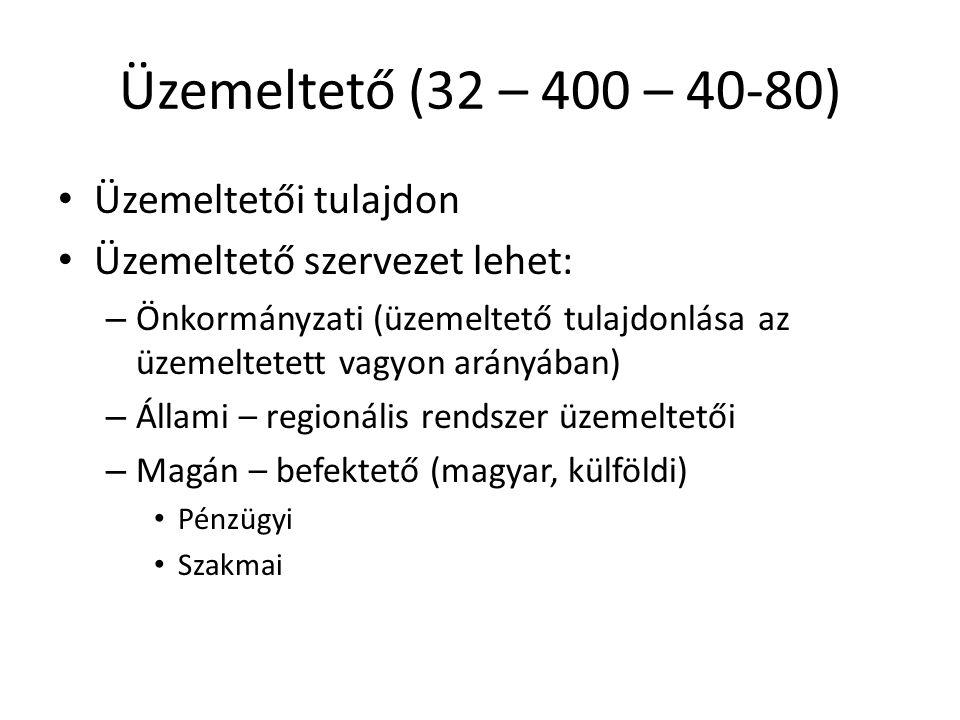 Üzemeltető (32 – 400 – 40-80) • Üzemeltetői tulajdon • Üzemeltető szervezet lehet: – Önkormányzati (üzemeltető tulajdonlása az üzemeltetett vagyon ará