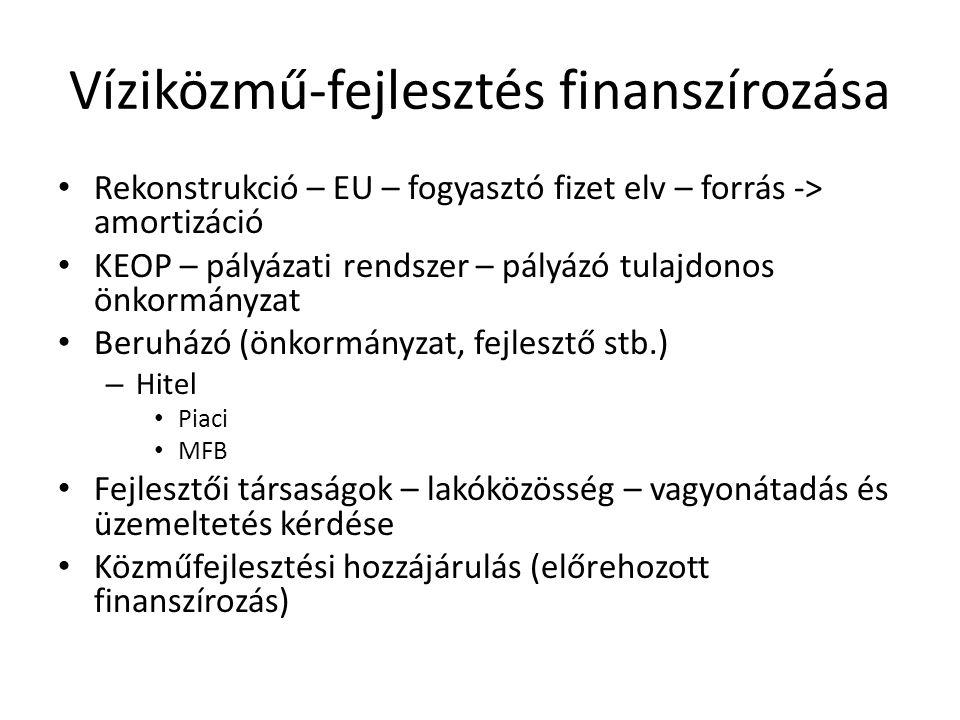 Víziközmű-fejlesztés finanszírozása • Rekonstrukció – EU – fogyasztó fizet elv – forrás -> amortizáció • KEOP – pályázati rendszer – pályázó tulajdono