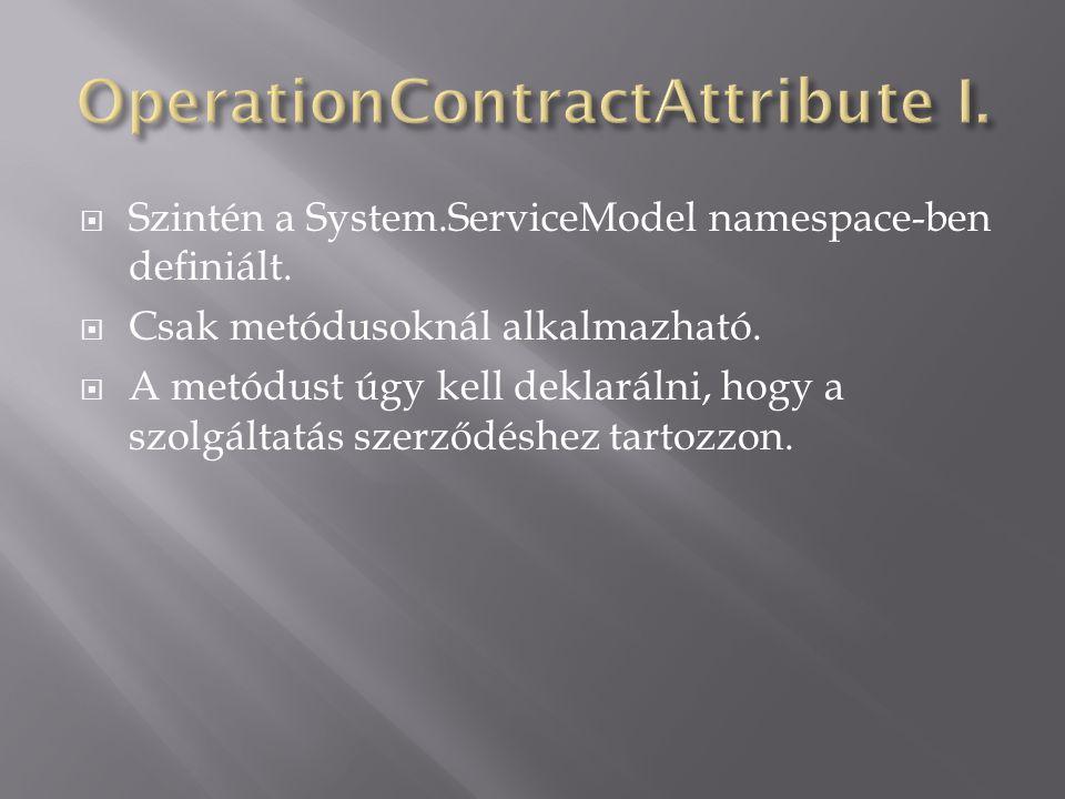  Szintén a System.ServiceModel namespace-ben definiált.