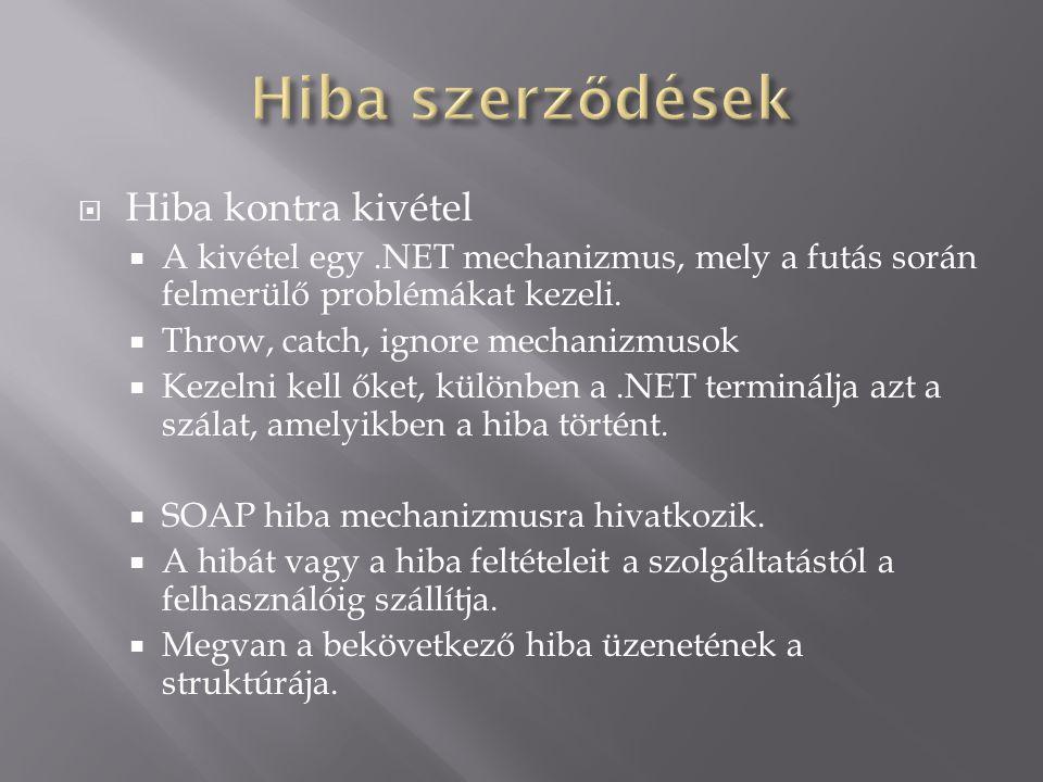  Hiba kontra kivétel  A kivétel egy.NET mechanizmus, mely a futás során felmerülő problémákat kezeli.