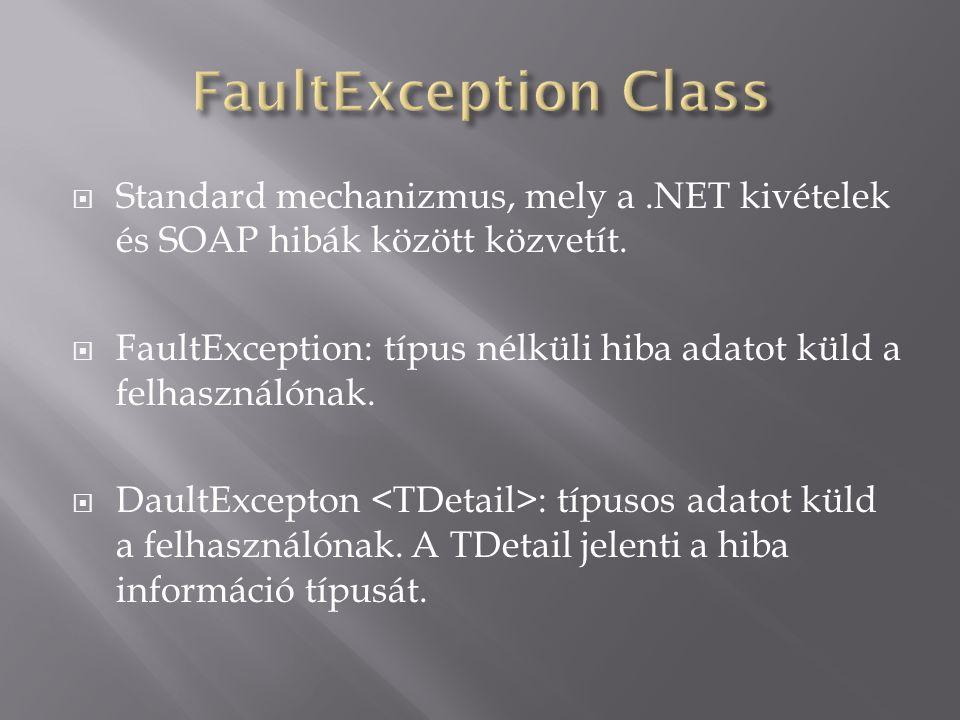  Standard mechanizmus, mely a.NET kivételek és SOAP hibák között közvetít.