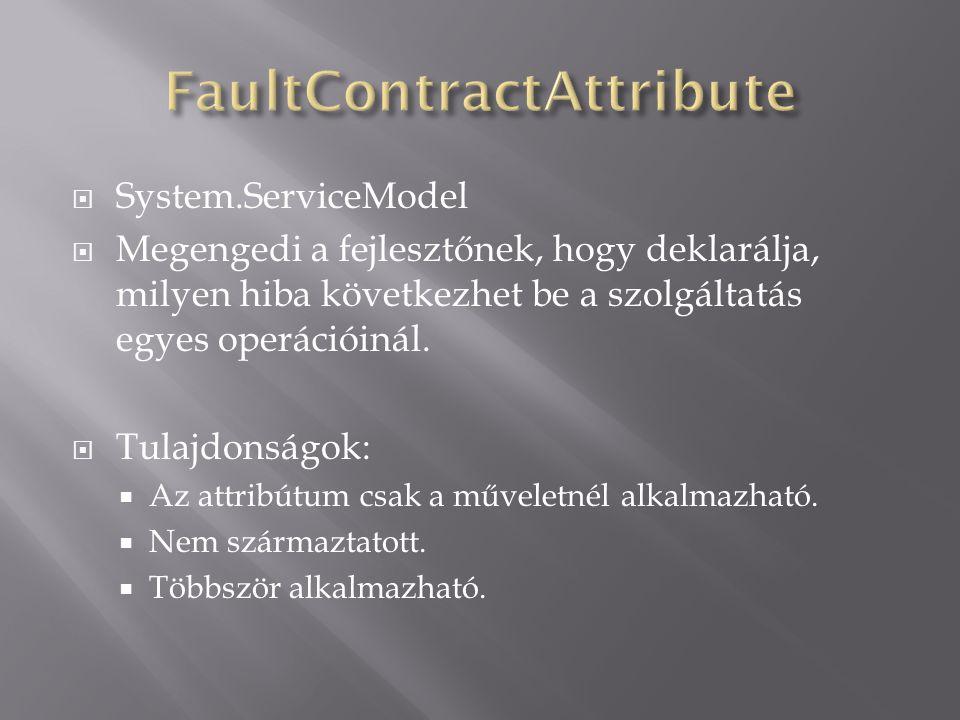  System.ServiceModel  Megengedi a fejlesztőnek, hogy deklarálja, milyen hiba következhet be a szolgáltatás egyes operációinál.