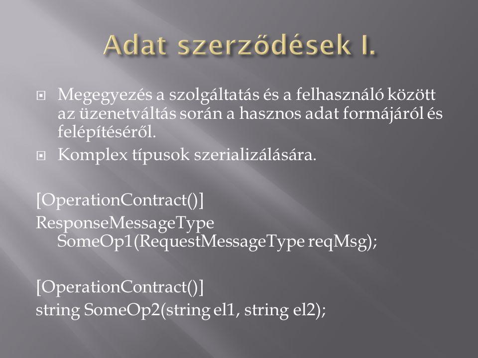  Megegyezés a szolgáltatás és a felhasználó között az üzenetváltás során a hasznos adat formájáról és felépítéséről.