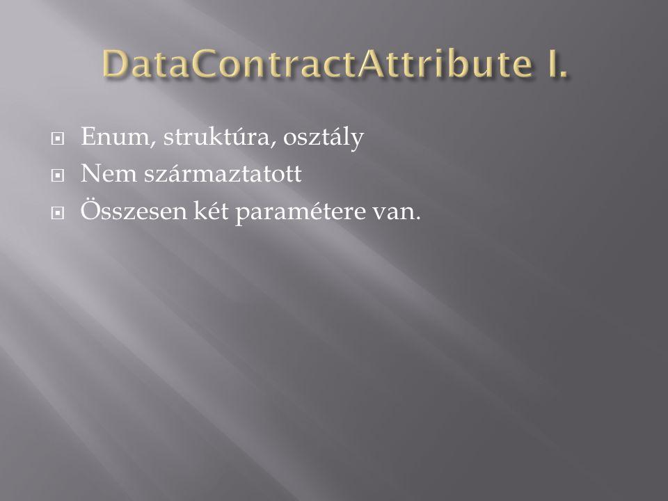  Enum, struktúra, osztály  Nem származtatott  Összesen két paramétere van.