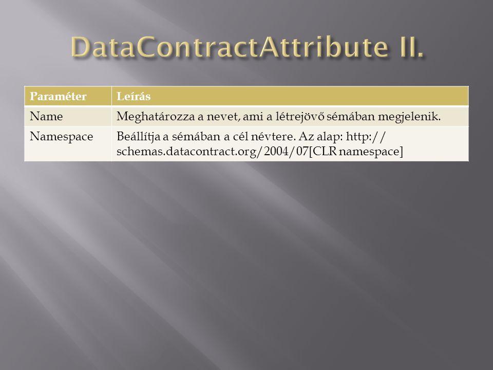  System.Runtime.Serialization  Azt határozza meg, hogy a tagnak benne kell-e lennie az adatszerkezet szerializációjában.