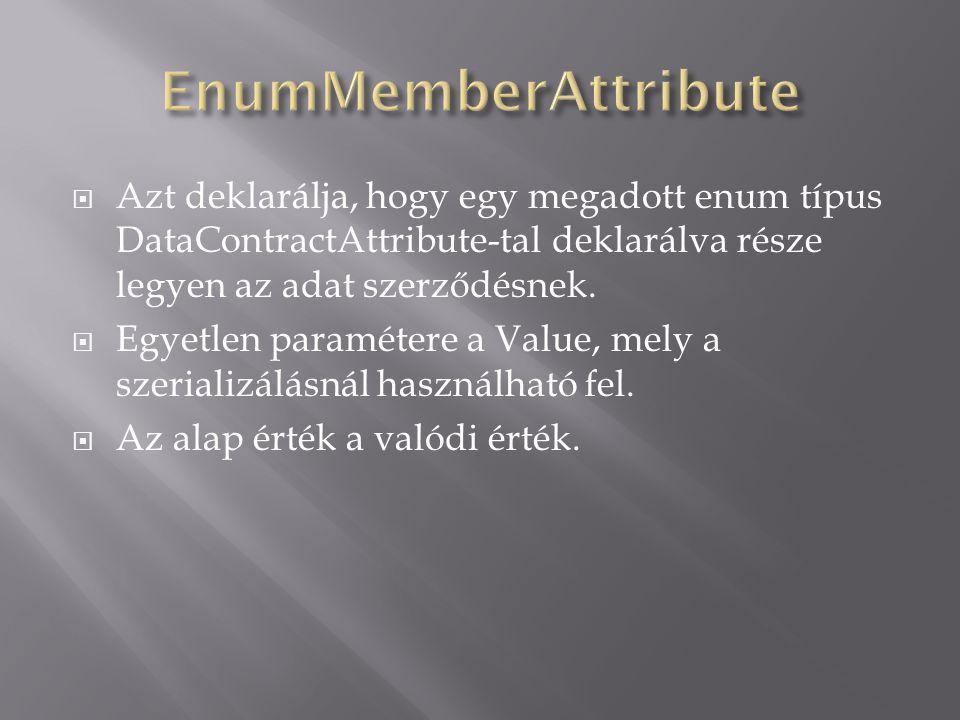  Azt deklarálja, hogy egy megadott enum típus DataContractAttribute-tal deklarálva része legyen az adat szerződésnek.