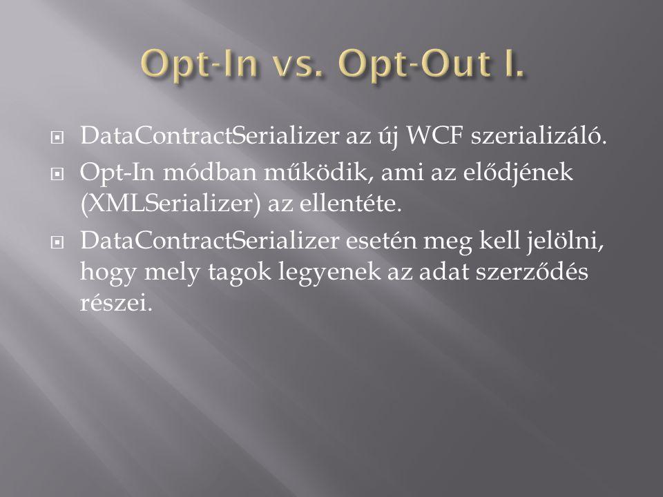  DataContractSerializer az új WCF szerializáló.