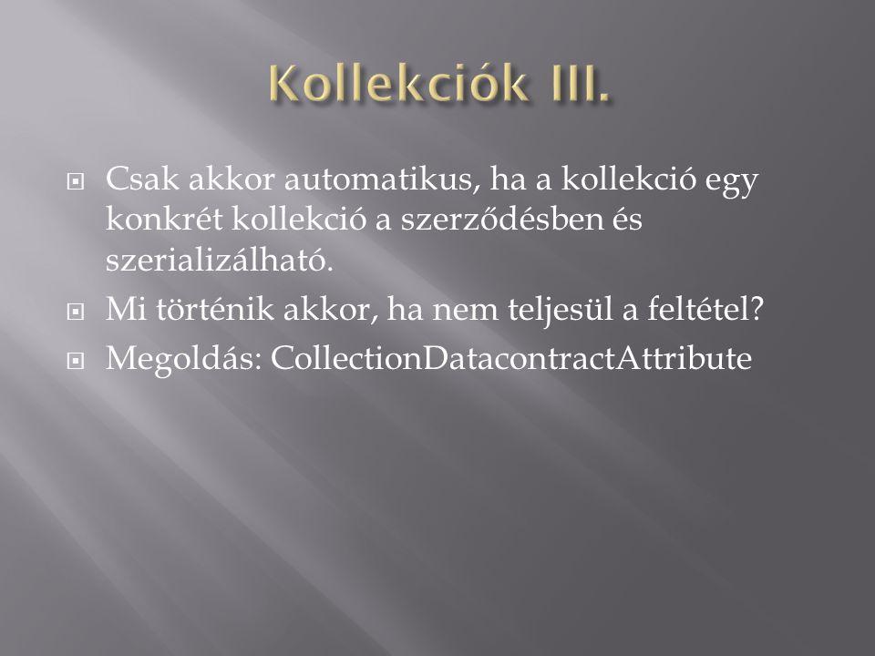  Csak akkor automatikus, ha a kollekció egy konkrét kollekció a szerződésben és szerializálható.