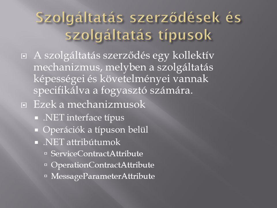  A szolgáltatás szerződés egy kollektív mechanizmus, melyben a szolgáltatás képességei és követelményei vannak specifikálva a fogyasztó számára.