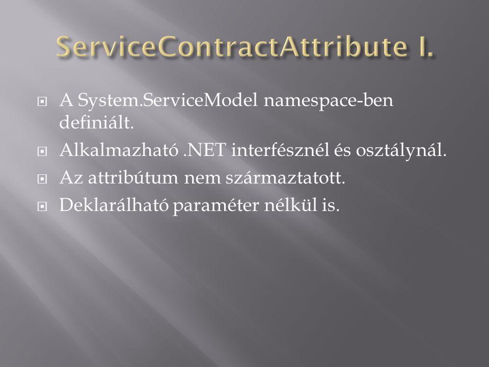  A System.ServiceModel namespace-ben definiált.  Alkalmazható.NET interfésznél és osztálynál.