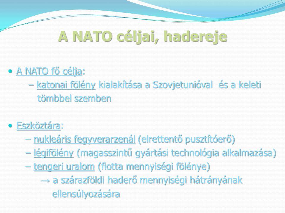 A NATO céljai, hadereje  A NATO fő célja: – katonai fölény kialakítása a Szovjetunióval és a keleti – katonai fölény kialakítása a Szovjetunióval és a keleti tömbbel szemben tömbbel szemben  Eszköztára: – nukleáris fegyverarzenál (elrettentő pusztítóerő) – nukleáris fegyverarzenál (elrettentő pusztítóerő) – légifölény (magasszintű gyártási technológia alkalmazása) – légifölény (magasszintű gyártási technológia alkalmazása) – tengeri uralom (flotta mennyiségi fölénye) – tengeri uralom (flotta mennyiségi fölénye) → a szárazföldi haderő mennyiségi hátrányának → a szárazföldi haderő mennyiségi hátrányának ellensúlyozására ellensúlyozására