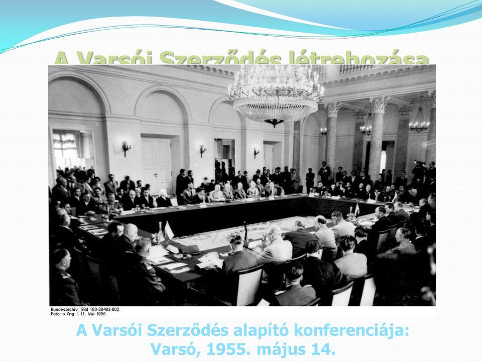 A Varsói Szerződés létrehozása A Varsói Szerződés alapító konferenciája: Varsó, 1955. május 14.