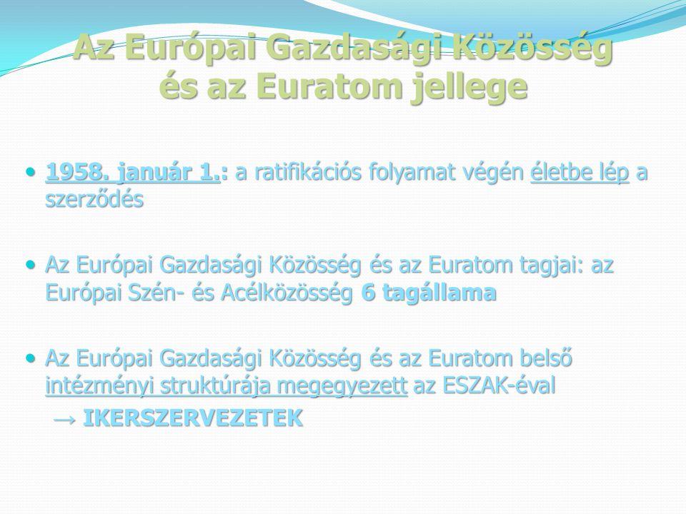 Az Európai Gazdasági Közösség és az Euratom jellege  1958.