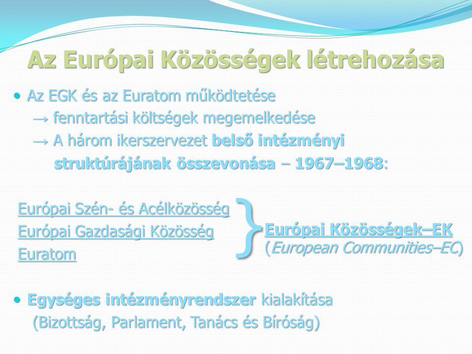 Az Európai Közösségek létrehozása  Az EGK és az Euratom működtetése → fenntartási költségek megemelkedése → fenntartási költségek megemelkedése → A három ikerszervezet belső intézményi → A három ikerszervezet belső intézményi struktúrájának összevonása – 1967–1968: struktúrájának összevonása – 1967–1968: Európai Szén- és Acélközösség Európai Szén- és Acélközösség Európai Gazdasági Közösség Európai Gazdasági Közösség Euratom Euratom  Egységes intézményrendszer kialakítása (Bizottság, Parlament, Tanács és Bíróság) (Bizottság, Parlament, Tanács és Bíróság) } Európai Közösségek–EK (European Communities–EC)